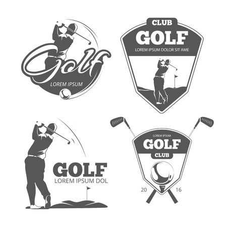 Vintage golf vector labels, badges en emblemen. Sport teken icoon, club spel illustratie