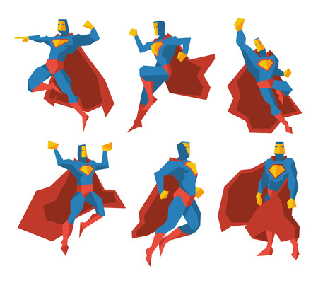 cartoon superhero: Superhero silhouettes vector character set. Super power, strength polygonal multi-faceted man illustration