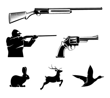 Hunting vector elements for vintage labels and emblems. Deer and gun, hunt sport, pistol or revolver, wildlife and rifle illustration