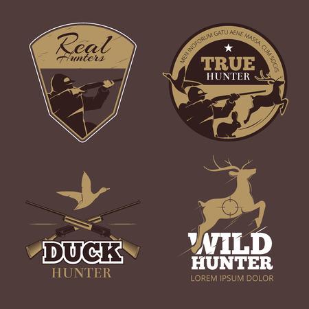 Retro color hunting labels set. Hunter wild, vintage emblem, aiming and duck, vector illustration