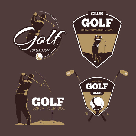 Golf country club vector logo templates. Sport with ball label, icon game illustration
