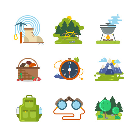 Flat camping outdoor vector icons. Travel activity, equipment and adventure illustration