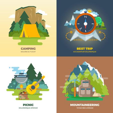 Conjunto al aire libre campo de aventura fondo plana concepto. Camping y picnic, el montañismo y el viaje, ilustración vectorial Foto de archivo - 51644432