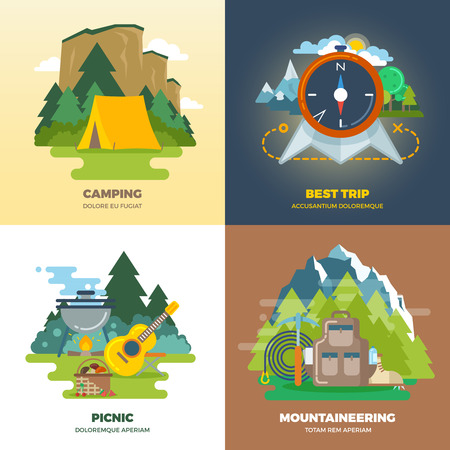 mountaineering: Outdoor adventure camp flat background concept set. Camping and picnic, mountaineering and trip, vector illustration Illustration