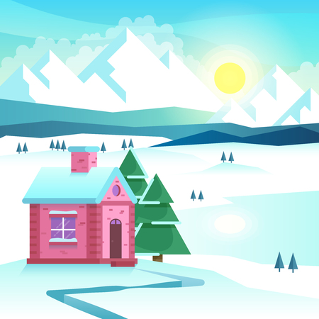 cold season: Winter mountain landscape. Nature outdoor, snow and cold, season travel. Vector illustration