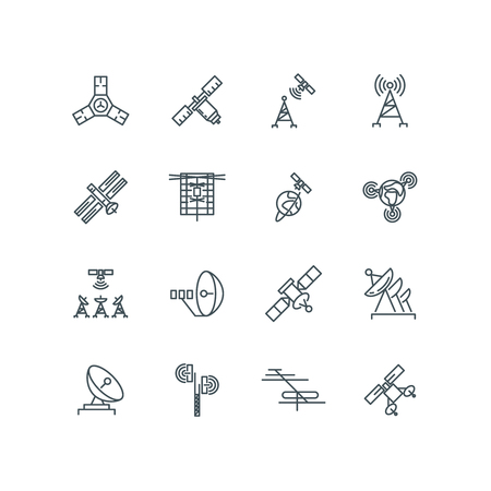 to orbit: Orbit communication satellite vector line icons. Technology signal on space, connection and telecommunication orbit illustration
