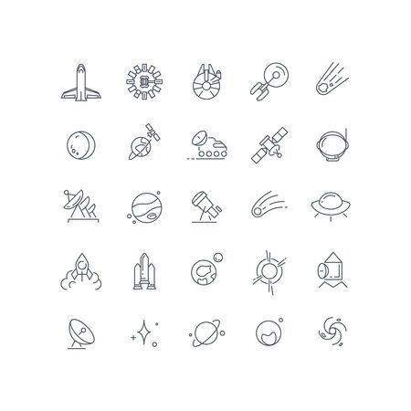 telecomm: Space and astronomy vector line icons. Satellite and comet, technology connection on orbit, celestial and moonwalker, exploration galaxy illustration