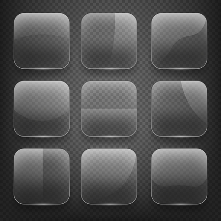 shiny buttons: Transparent glass square app buttons on checkered background. Blank empty, shiny and glossy. Vector illustration icons set