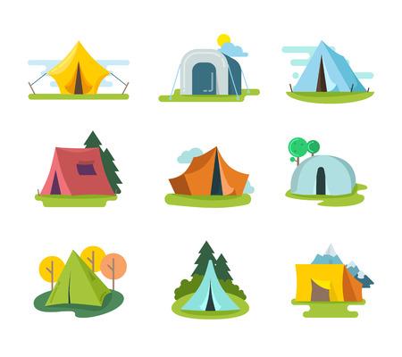 namioty turystyczne Wektor zestaw w stylu płaskiej. przygoda rekreacja, sprzęt na wakacje na świeżym powietrzu, działalność turystyka ilustracji