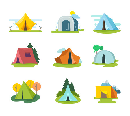 tent: Tourist tents vector set in flat style. Recreation adventure, equipment for vacation outdoor, tourism activity illustration