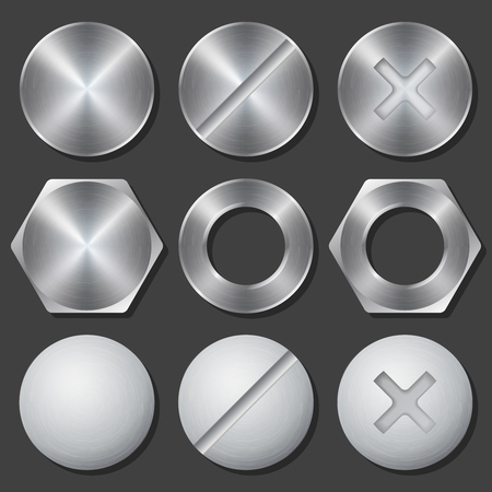 clincher: Screws, nuts and bolts realistic icons set. Rivet and bolt, crosshead and hex, fix gear, vector illustration
