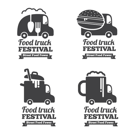 Vector food truck logos, emblems and badges. Label emblem, restaurant and cafe car illustration