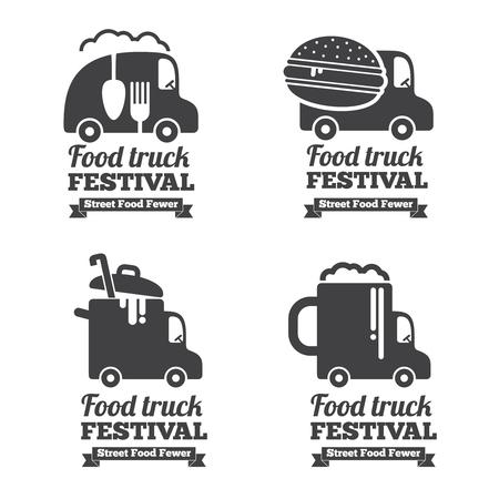 vintage truck: Vector food truck logos, emblems and badges. Label emblem, restaurant and cafe car illustration