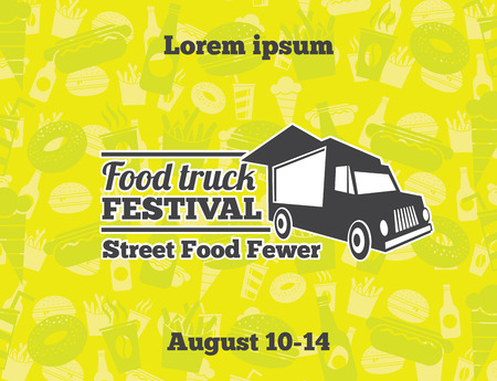 Urban, street food vector illustrations for poster. Banner cafe car, lunch street, event illustration Illustration