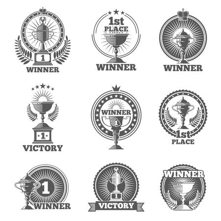Victory trofeeën en awards vector logo's, badges, emblemen. Win cup sport, kampioen stempel, vector illustratie