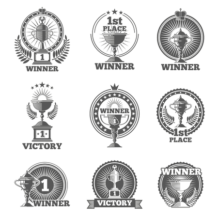 trophy winner: Victory trophies and awards vector logos, badges, emblems. Win cup sport, champion stamp, vector illustration Illustration