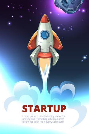 Business start up consept vector background. Rocket project launch, technology innovation, success development illustration