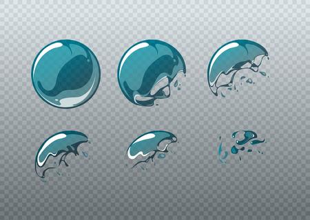 Jabón estallido de la burbuja. cuadros de animación ubicado en el estilo de dibujos animados. Bola redonda limpia, jabón figura esférica, ilustración vectorial