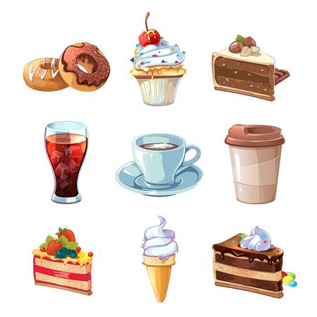 カフェ製品はベクター漫画セットです。チョコレート、カップケーキ、ケーキ、コーヒー、ドーナツ、コーラ、アイスクリームのカップ。デザート