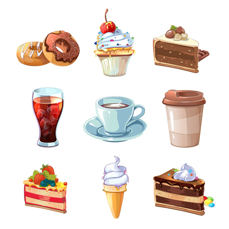 Street cafe products vector cartoon set. Chocolate, cupcake, cake, cup of coffee, donut, cola and ice cream. Dessert snack,  pastry tasty illustration Иллюстрация
