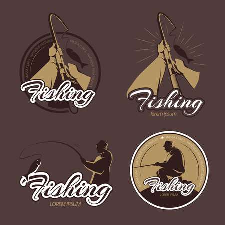 fisherman: Vintage fishing club vector emblems and labels. Fishing emblem, fishing retro badge, fisherman fishing river illustration Illustration