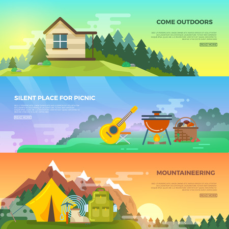 backpack: Camping vector flat banner set. Adventure hiking banner, travel mountain banner, tent and backpack, tourism mountaineering banner illustration