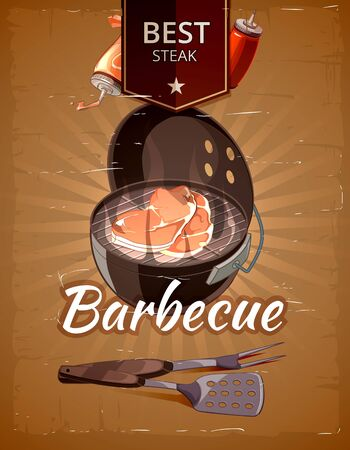 cook cartoon: Vintage BBQ vector poster. Grill restaurant barbecue, steak hot food illustration