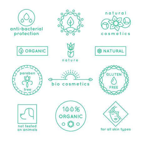beauty of nature: Natural cosmetics line icons and badges set. Label logo, floral nature symbol flower for spa beauty, vector illustration Illustration