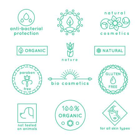 Natural cosmetics line icons and badges set. Label logo, floral nature symbol flower for spa beauty, vector illustration Illustration