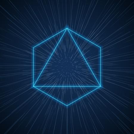 Vector futuristic space tunnel with geometric shapes. Design background technology, energy light digital, flow ray virtual matrix illustration Illustration