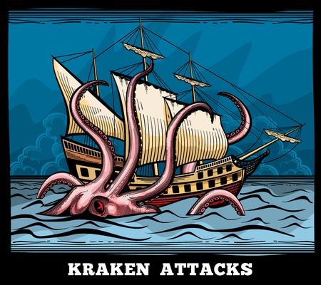 Imbarcazione di navigazione e Kraken mostro polpo logo vettoriale in stile cartone animato. Calamari con tentacolo mito, avventura voyage illustrazione