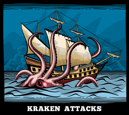 myth: Sailing vessel and Kraken monster octopus vector logo in cartoon style. Squid with tentacle myth, adventure voyage illustration Illustration