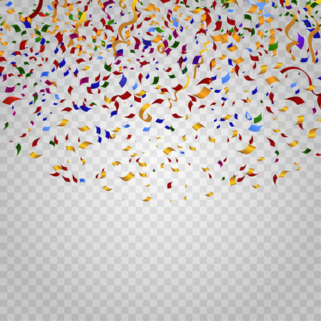 Colorful confetti on checkered background. Party and holiday, birthday carnival, decoration for celebration, festive event, design ribbon. Vector illustration template Illustration