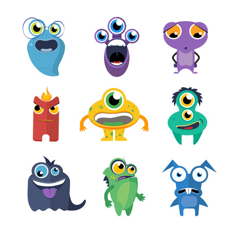 Cute monsters vector set in cartoon style. Alien cartoon character, creature collection fun illustration