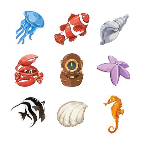 Marine vector icon set in cartoon style. Nature life, wildlife underwater, sea or ocean fish illustration Illustration