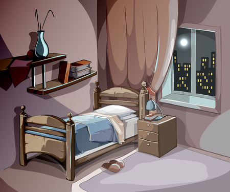 classic living room: Bedroom interior at night in cartoon style. Vector sleeping concept background. Illustration room with bed furniture, comfort for sleep relaxation and dream