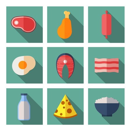 raw egg: Meat and dairy products containing animal protein. Flat vector icons set. Milk bottle, natural organic fish and chicken leg illustration