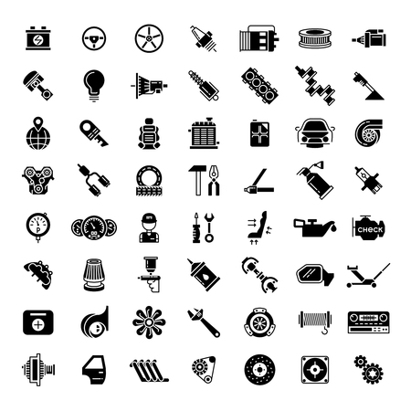Black car parts icons. Gear for automobile, battery and piston, brake and motor, vector illustration