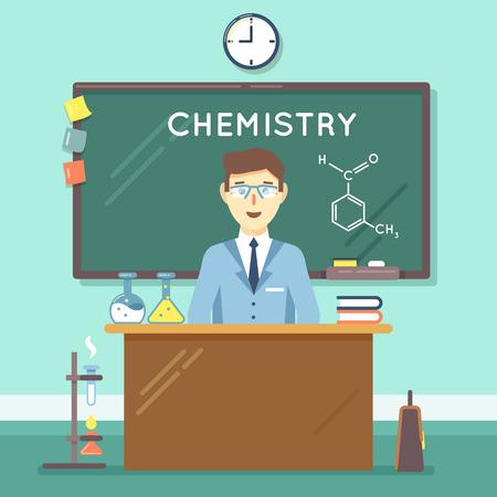 school classroom: Chemistry teacher in classroom. School science study, university man research. Vector illustration flat education background
