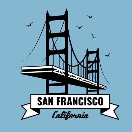 San Francisco Bridge vector poster. Landmark building, america postcard, architecture for tourism illustration