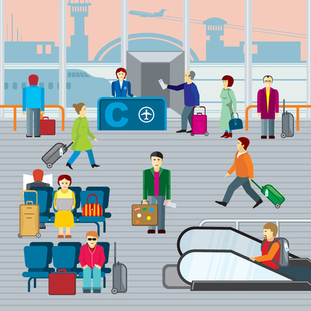 airport cartoon: People in airport. Man and woman with luggage travel, departure and journey. Flat vector illustraton