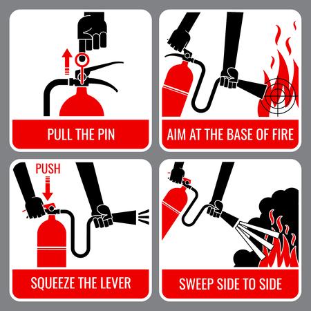 Instruções de vetor de extintor de incêndio. Aviso e perigo, chama e cautela, ilustração informativa da bandeira