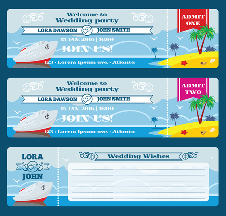 event party: Retro boarding pass ticket. Wedding invitation template. Celebration and wish, marriage event party, vector illustration