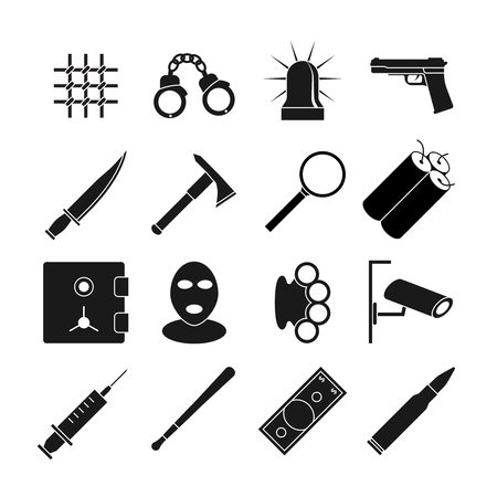handcuff: Crime vector icons set. Gun and handcuff, magnifying glass, balaclava mask, camera and brass knuckles illustration