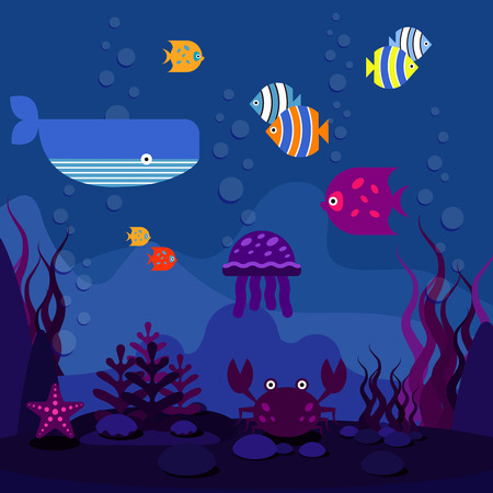 Underwater world. Ocean or sea, fish in aquarium and whale, vector illustration