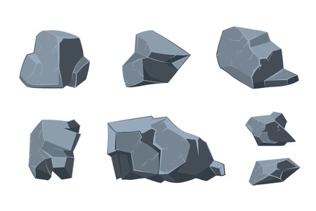 Rock vector cartoon-elementen. Structuur mineraal, model natuurlijke template illustratie