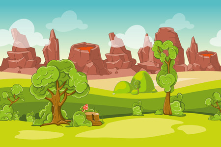 landscape nature: Seamless cartoon nature landscape with trees, rocks and volcanoes. Mountain and lava, vector illustration Illustration