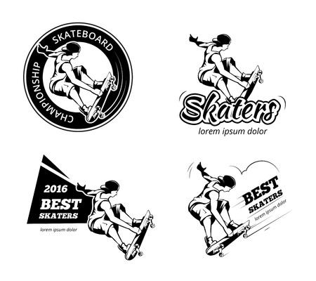Vintage skateboarding labels, Illustration