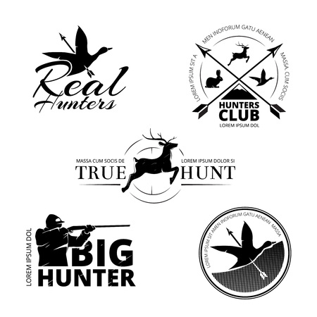 Hunting club vector labels,   emblems set. Animal deer and rifle, aim and reindeer illustration