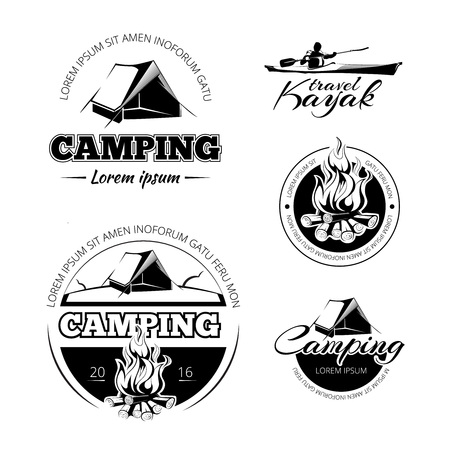 expedition: Camping and hiking vectro labels emblems and badges set. Outdoor expedition, and kayak illustration Illustration